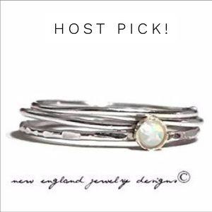 925 Sterling Silver Fire Opal Ring Set